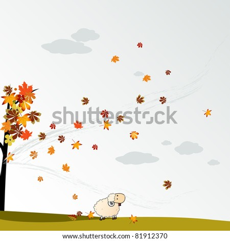 cloudy autumn background with leaves vector illustration