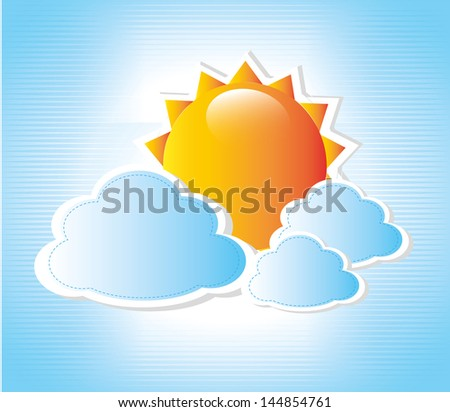 cloudy design over blue background vector illustration