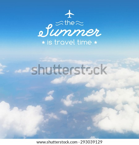 cloudy sky from airplane porthole, vector illustration for travel design, touristic agency or airline advertising template - stock vector