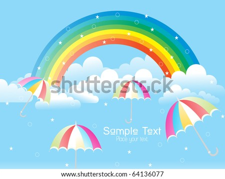 cloudy sky with rainbow and colorful umbrellas - stock vector