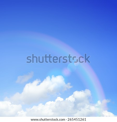 Cloudy sky with rainbow vector illustration. - stock vector