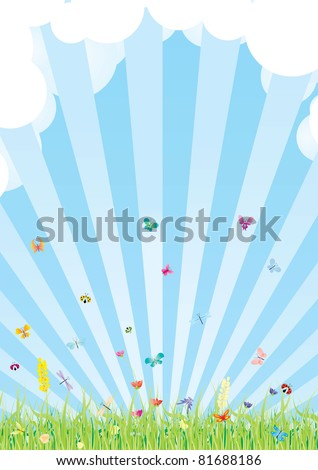 cloudy summer sky and grass with flowers and butterflies vector - stock vector