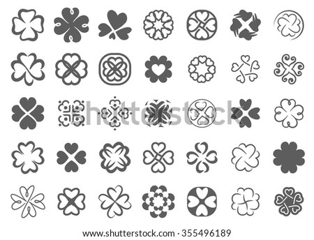 Clover abstract icon logo symbol illustration set - stock vector