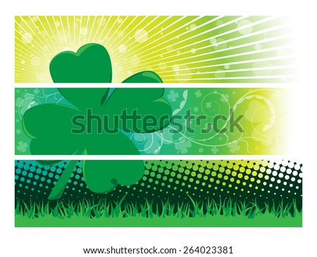 Clover Banners - stock vector