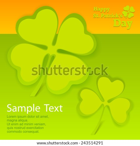 Clover leaf card in green & orange with text, vector illustration for St. Patrick's day  - stock vector