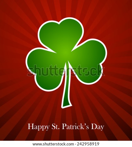 Clover leaf element background for happy St. Patricks Day - stock vector