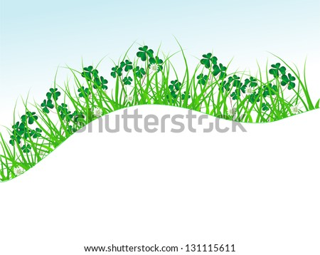Clover leaves in green grass - stock vector