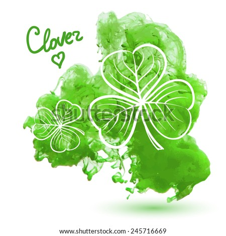 Clover leaves on a watercolor background. Decorative floral illustration  - stock vector