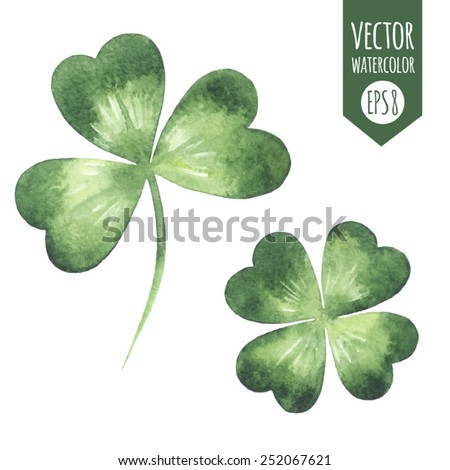 Clover leaves set - quarterfoil and  trefoil. Watercolor vector illustration. Patricks Day design element. - stock vector