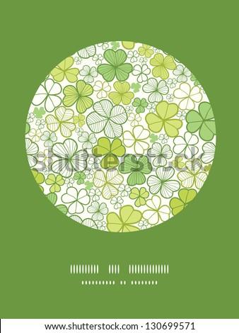 Clover line art circle decor pattern background - stock vector