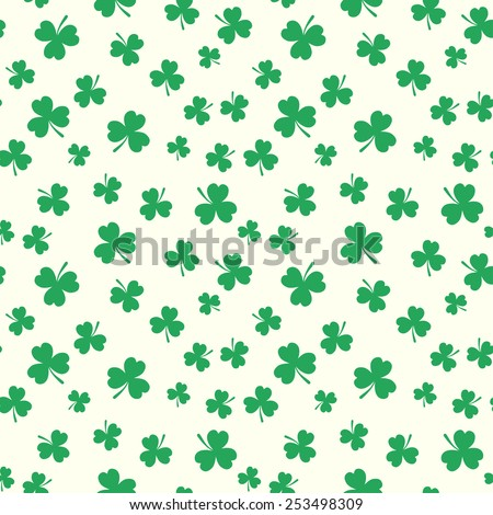 Clover seamless pattern for St. Patrick's Day. Flat style elements on white background. - stock vector