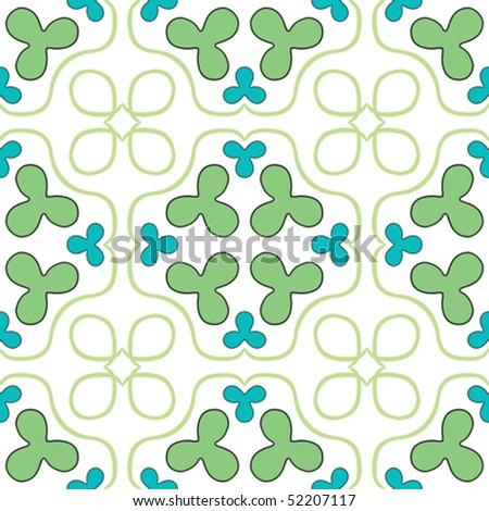 clover seamless texture, abstract pattern; vector art illustration - stock vector