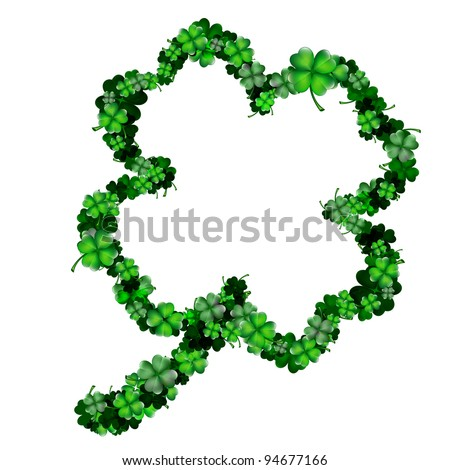 Clover shape from lots of small and big clovers - stock vector