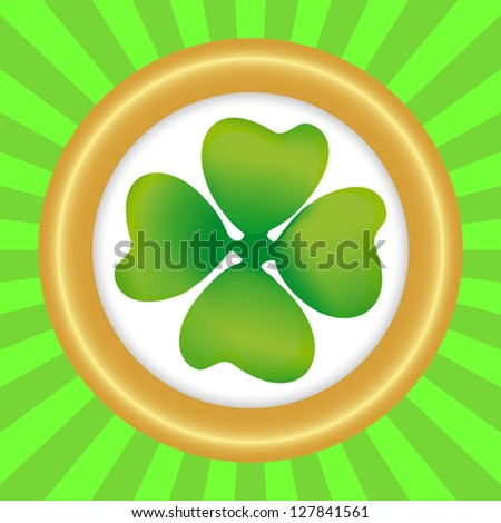 Clover symbol of the day of St. patrika in round frame