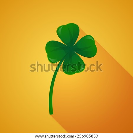 Clover with four leaves on golden background. - stock vector
