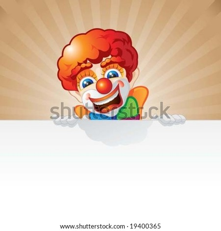 clown and board - stock vector