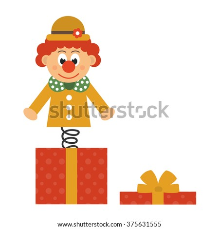 clown and box - stock vector