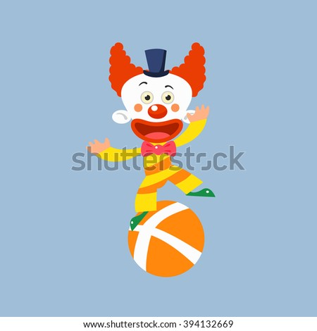 Clown Balancing On One Leg Simplified Isolated Flat Vector Drawing In Cartoon Manner - stock vector