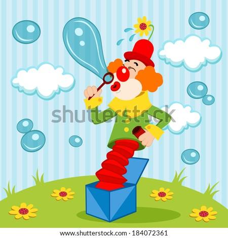 Clown blows bubbles - vector illustration - stock vector