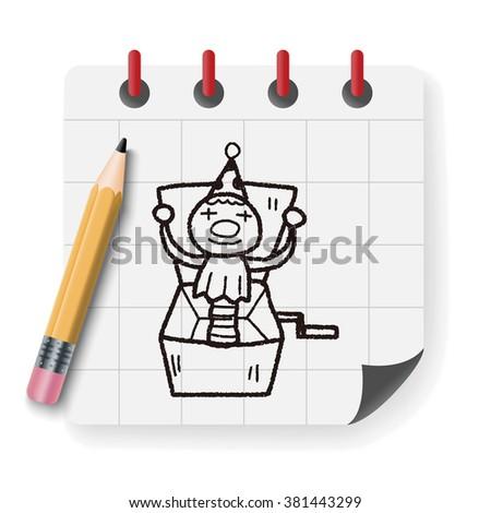 clown box doodle - stock vector