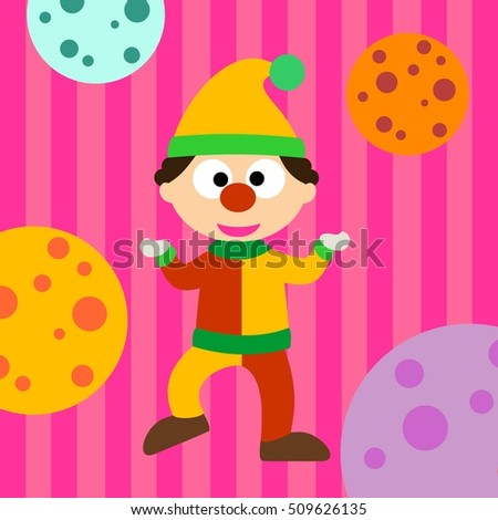 Clown cartoon kids drawing with colorful background vector illustration design.