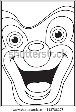 Clown coloring book page vector illustration - stock vector