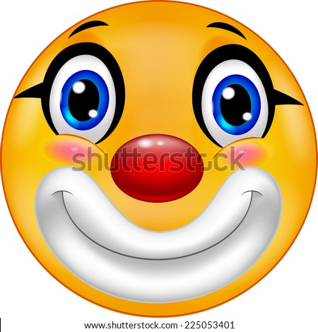 Clown emoticon smiley - stock vector