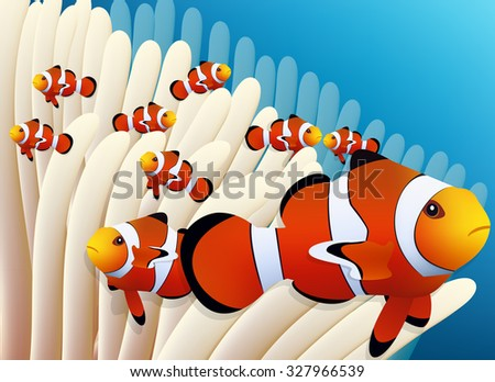 clown fish and anemone in blue sea vector image - stock vector