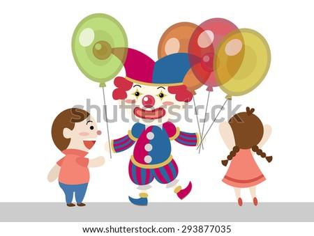 clown give balloons to children cartoon vector - stock vector