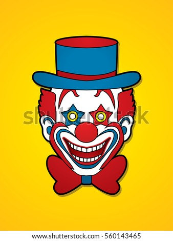 Clown head, smile face graphic vector.