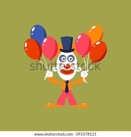 Clown Holding Balloons Simplified Isolated Flat Vector Drawing In Cartoon Manner - stock vector