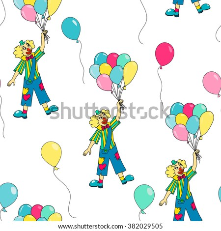 Clown holding colorful balloons. Circus seamless pattern. Vector background - stock vector