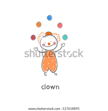 Clown. Illustration. - stock vector