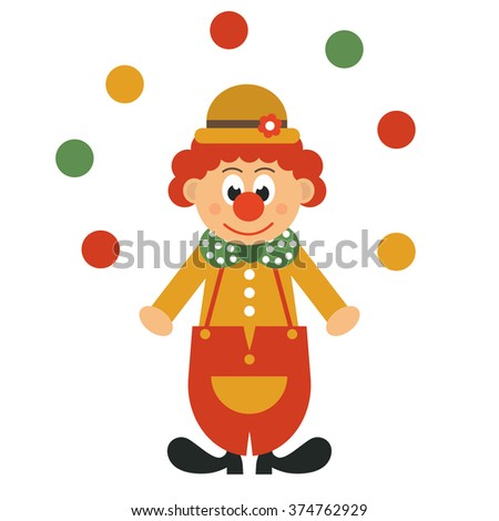 clown in hat and balls