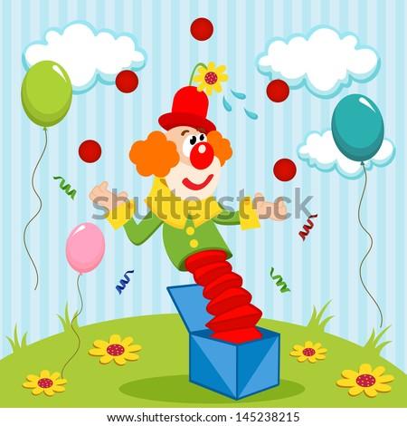clown juggles balls - vector illustration - stock vector