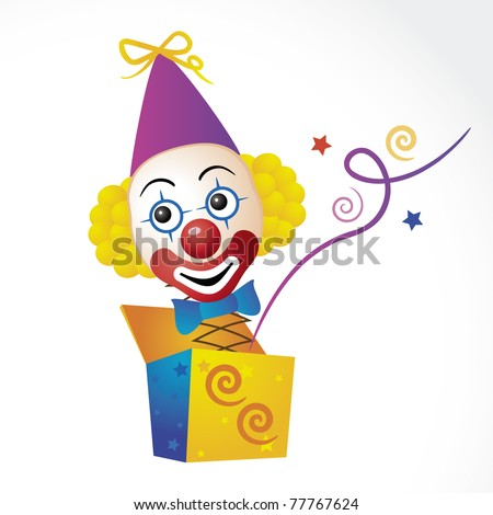 Clown jump out from box on white background - stock vector