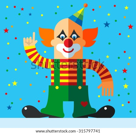 Clown  pointing direction. Flat vector illustration