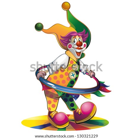 clown spinning hoop - stock vector