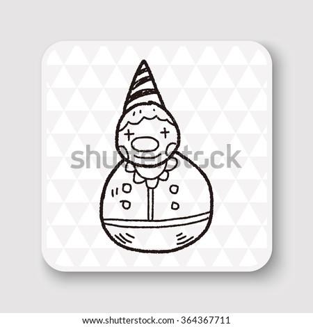 clown toy doodle - stock vector