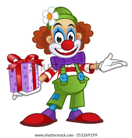Clown with a present
