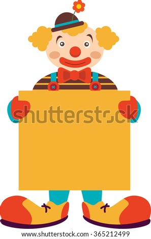 Clown with blank board isolated on white - stock vector