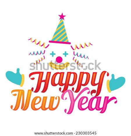 Clown with Happy New Year Text - stock vector