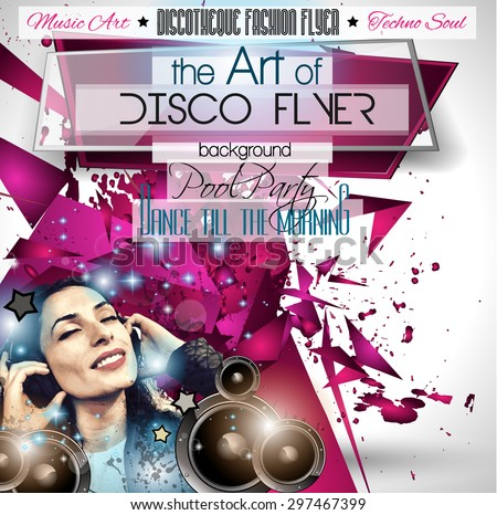 Club Disco Flyer Set with DJ girl and Colorful Scalable backgrounds. A lot of diffente style flyer for your techno, hip hop, electro or metal  music event Posters and advertising - stock vector