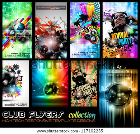 Club Flyers ultimate collection - High quality abstract full editable template designs for music posters or disco flyers. - stock vector