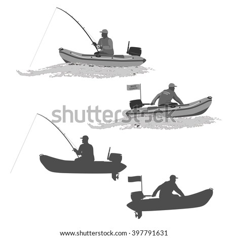 Club of fishermen in boats with a motor head coach of the club fishermen rides on a rubber boat with a motor. fisherman in a boat catches a fish set of silhouettes. totally vector illustration