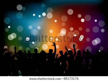 Club party with dancing people - stock vector