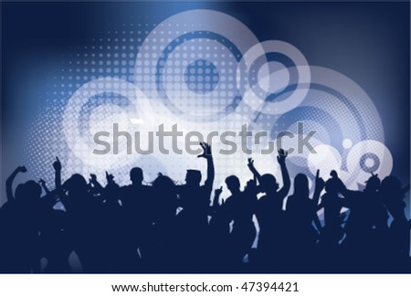 Club party with dancing people and urban background - stock vector