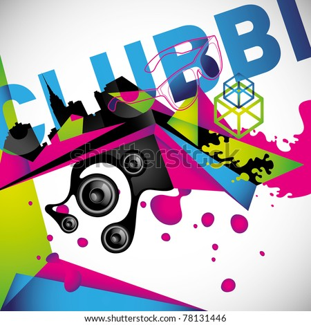 Clubbing background with urban elements. Vector illustration.