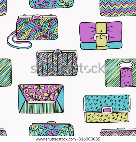 Clutch bag seamless pattern - stock vector