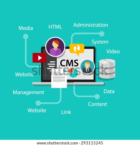 cms content management system administration website  - stock vector